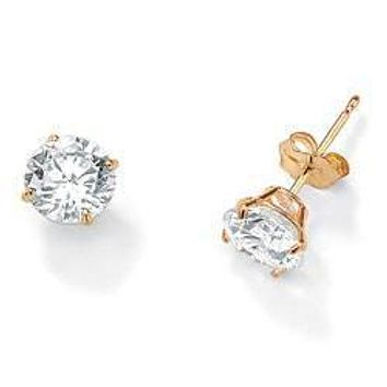 Simple Elegance - 4mm Cubic Zirconia and Gold Plated Stud Earrings