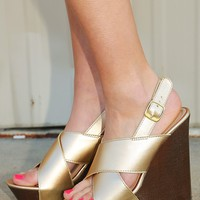 Twinkle In The Night Wedges: Gold