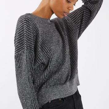 PETITE Metallic V-Neck Batwing Jumper
