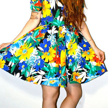 80s SUNFLOWER Summer Bright Floral Hawaiian Heart Shaped Club Kid Hipster Mini Sun Dress S