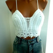 Halter Beach Clothes Crop Top Boho Hippie Fringed White Crochet Top Crochet Halter Top Cotton Halter Hippie Fringes Nude