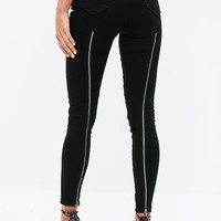 Missguided - Black Vice Highwaisted Skinny Zip Back Jeans