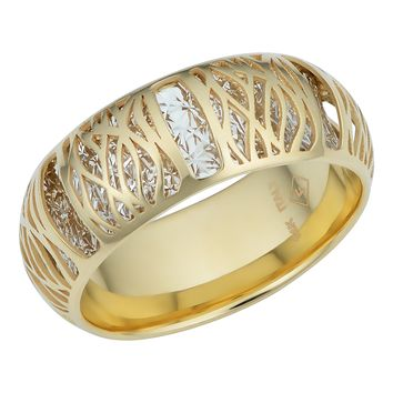 14k Two Tone Gold 7.2mm Filigree Band Ring