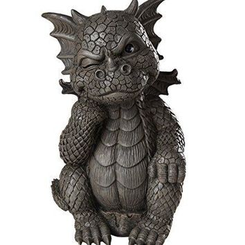 Garden Dragon Thinker Dragon Garden Display Decorative Accent Sculpture Stone Finish 10 Inch Tall
