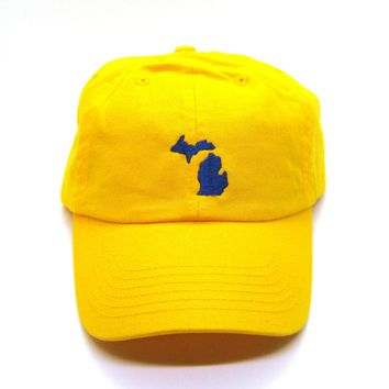 Classic Dad Hat - Navy on Yellow Michigan - All States Available
