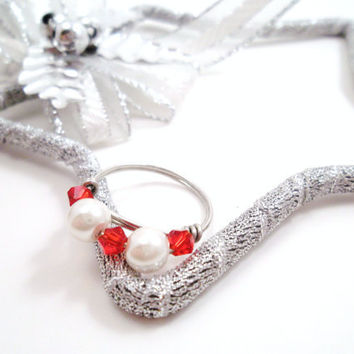 Pear & Red Crystal Ring Sterling Silver Wire by SerenityInChains