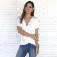Gerry Jersey Wrap Blouse in White