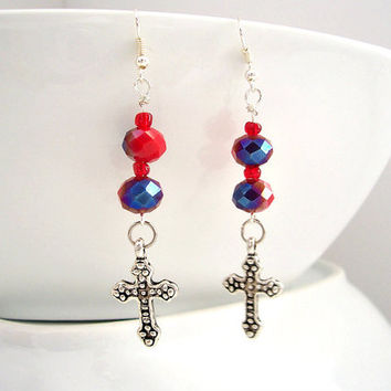 Cross Earrings, Christian Jewelry, Religious Earrings, Long Dangle Earrings, Bright Red and Cobalt Blue, Cross Pendant, Long Earrings