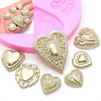Heart Diamond Silicone Cake Molds Relief Resin Clay Soap Moulds Fondant Cupcake Chocolate Mold Kitchen Accessories XF549