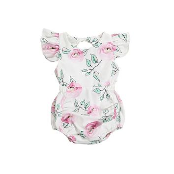 New Fashion Lovely Newborn Baby Girl Clothing Summer Clothes Floral Soft Off Shoulder Romper Jumpsuit Outfits