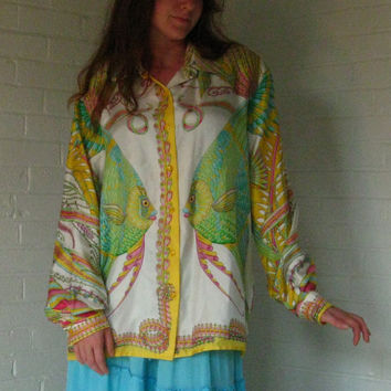 1980s Silk Angel Fish Shirt. Made by Carlisle. Bright, bold and oversized. Large/Extra Large