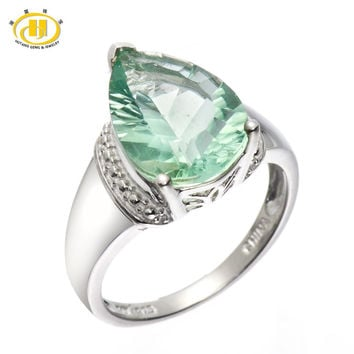 6.21 ct genuine green fluorite gemstone solid 925 sterling silver solitaire ring