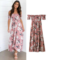 Summer Women's Fashion Print Prom Dress One Piece Dress [10399192141]