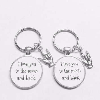 I Love You To The Moon And Back Sign Language Hand Friend Gift Keychain Set
