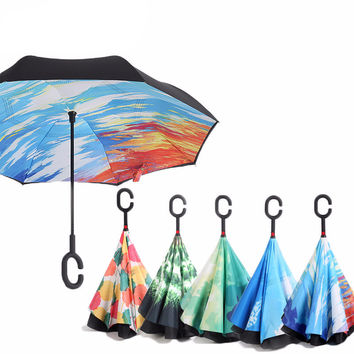 Anti UV Inverted Reverse Folding Double Layer Umbrella - 23 Colors