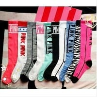 2017 New PINK Cotton Stocking high quality Skateboard long socks women's KNEE-HIGH socks letter socks