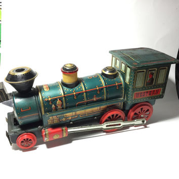 Vintage Tin Lithograph Train Locomotive Engine ~ Japanese Tin Toy ~ Vintage Tin Toy ~ Toy Train ~ Railroad Train Engine
