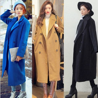 Fashion Women's Wool Blend Outwear Long Jacket Double-breasted Trench Coat = 1956591748