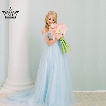 Light Blue  Pregnant Photography Dresses Vintage Wedding Gowns Lace Up Sash With Bow  2017 Sexy sz001