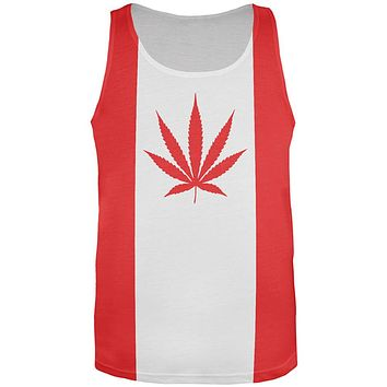 Canada Flag Pot Leaf Marijuana All Over Mens Tank Top