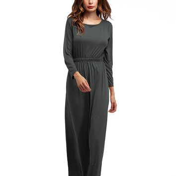 Grey Pure O Neck Long Dress