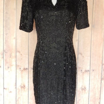 SALE Little Black Dress // 4 / 6 / 80s Beaded Party Dress // Stenay Silk // Flapper // Small Cocktail Dress // Prom //