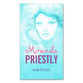 HAIR STYLIST Beauty Salon Tiffany Blue Sparkling Business Card