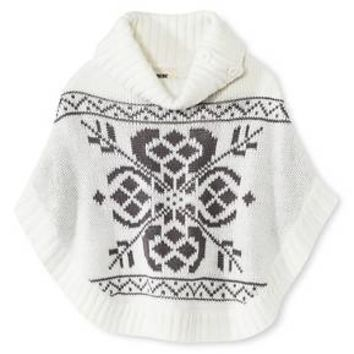 Toddler Girls' Marled Poncho Sweaters - Cream