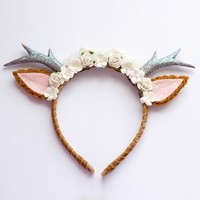 Natural Floral Deer Headband