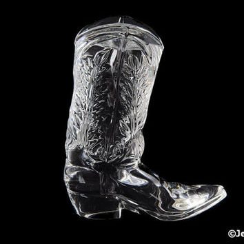 Vintage Glass Cowboy Boot Paperweight Signed Ralph Lauren Polo Cologne