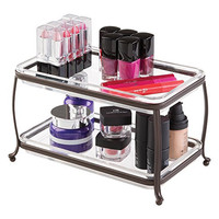 Traditional Fashion Jewelry and Cosmetic Organizer Tray for Bathroom Vanity Countertops - 2 Tiers, Bronze/Clear