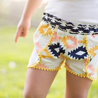 Girls Coachella Shorts, Girls Shorts, Shorts with pom poms, Festival shorts, aztec print shorts,summer short, baby shorts,girl summer outfit