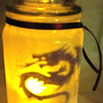 Dragon jar-dragon decor-decorative candle jar- mystical decor