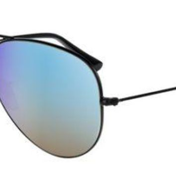 RAY BAN 3025 55 AVIATOR 002/4O BLACK BLUE MIRROR GRADIENT SUNGLASSES EYEGLASSES