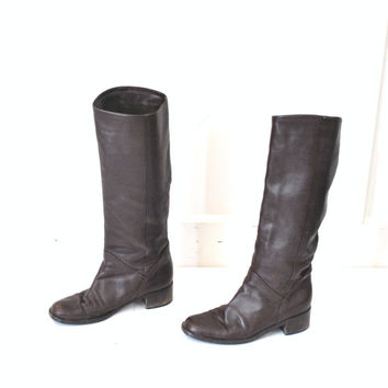 TALL brown leather boots vintage 80s 90s MINIMALIST boho knee high RIDING boots equestrian fall winter boots