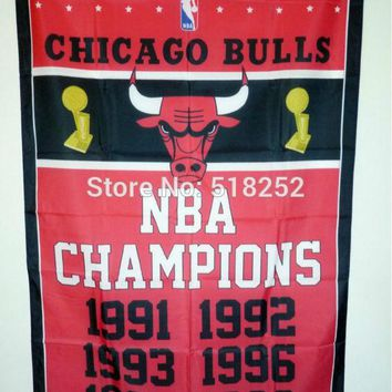 Chicago Bulls World Champions  Flag 3x5 FT 150X90CM NBA Banner 100D Polyester Custom flag grommets 6038.free shipping