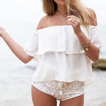 new summer women off shoulder chiffon boat neck casual tops beachwear clothes 4558
