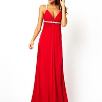 Forever Unique Plunge Neck Maxi Dress with Crystal Rope Straps