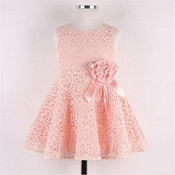 Gotd Baby Girls Dress Kids Floral Lace Princess Party Dress (6-7 Years Old, Pink)