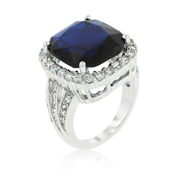 Dalphine Sapphire Blue Cushion Cut Halo Cocktail Ring | 22ct | Cubic Zirconia