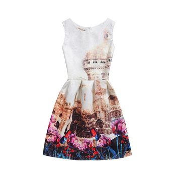 New Women Dress Plus Size Mini Retro Print Dress Casual Party Girl Dresses Fashion Sexy Princess Dress Vestido De Festa Clothing