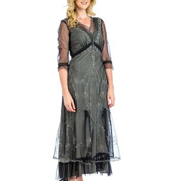 Edwardian Inspired Black Silver Embroidered Tulle Tea Gown
