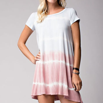 Pastel Tie Dye Shirt Dress