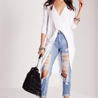 Missguided - Extreme Twist Front Tunic White