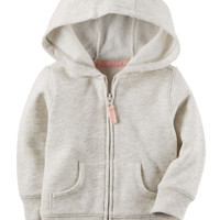 Sueded Fleece Zip-Front Hoodie