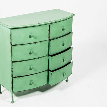 Beautiful Retro Chic Distressed Metal Dresser