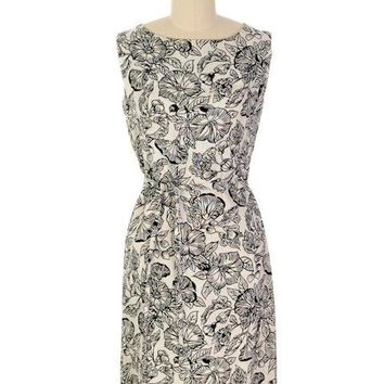 Vintage 1960s Dress Morning Glory Print Irish Linen Shift Black & White 36-34-38