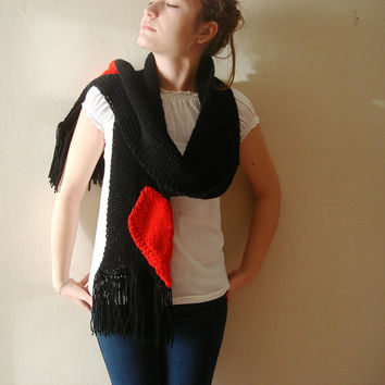 Hand knit black long scarf, unique design broken heart