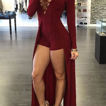 V Neck Criss-Cross Strap Long Sleeve Maxi Dress