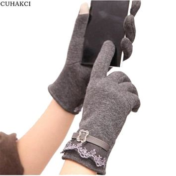 CUHAKCI Gloves Women Knitted Cotton Warm Mittens Touched Screen Glove Leather Lace Floral Casual Outdoor Wrist Gloves